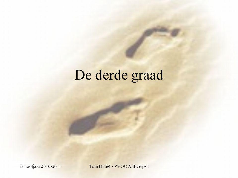 schooljaar 2010-2011Tom Billiet - PVOC Antwerpen De derde graad: Algemene theoretische opleiding Voorbereidend op hoger onderwijs Sterke input van talen én wiskunde Geen afkeer hebben van studeren Gemiddelde inzet +/- 2u per dag Ambitie om verder te studeren in het hoger onderwijs