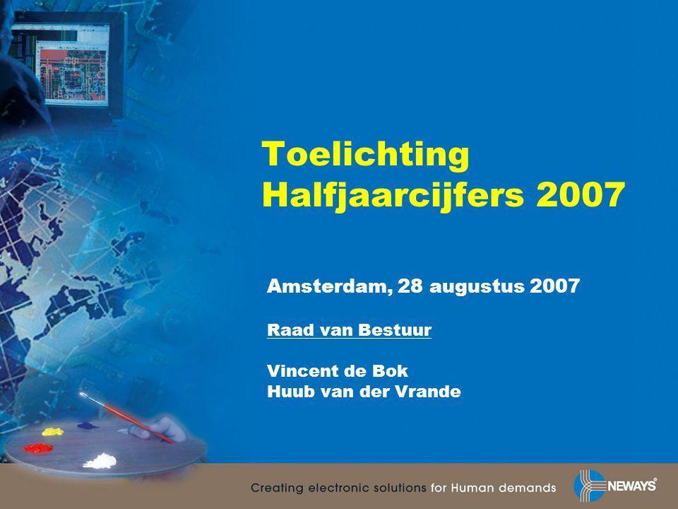 Toelichting Halfjaarcijfers 2007 Amsterdam, 28 augustus 2007 Raad van Bestuur Vincent de Bok Huub van der Vrande