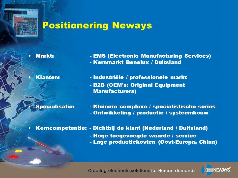 Positionering Neways •Markt: - EMS (Electronic Manufacturing Services) - Kernmarkt Benelux / Duitsland •Klanten: - Industriële / professionele markt - B2B (OEM's: Original Equipment Manufacturers) •Specialisatie: - Kleinere complexe / specialistische series - Ontwikkeling / productie / systeembouw •Kerncompetentie: - Dichtbij de klant (Nederland / Duitsland) - Hoge toegevoegde waarde / service - Lage productiekosten (Oost-Europa, China)