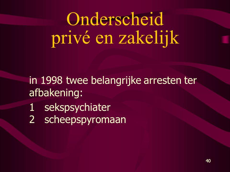40 Onderscheid privé en zakelijk in 1998 twee belangrijke arresten ter afbakening: 1sekspsychiater 2scheepspyromaan