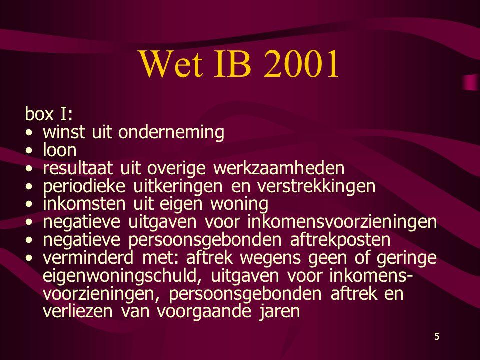 5 Wet IB 2001 box I: •winst uit onderneming •loon •resultaat uit overige werkzaamheden •periodieke uitkeringen en verstrekkingen •inkomsten uit eigen