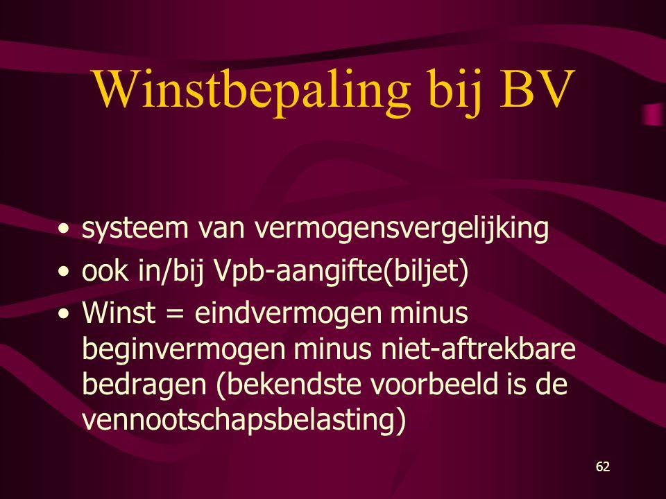 62 Winstbepaling bij BV •systeem van vermogensvergelijking •ook in/bij Vpb-aangifte(biljet) •Winst = eindvermogen minus beginvermogen minus niet-aftre