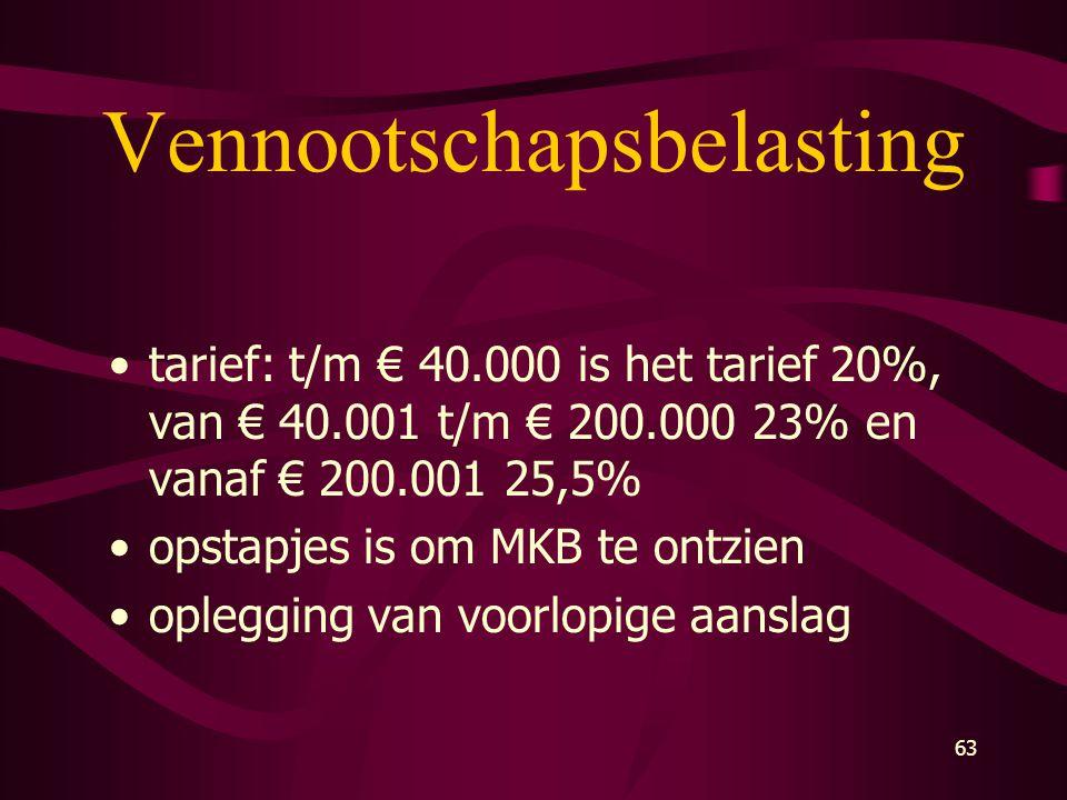 63 Vennootschapsbelasting •tarief: t/m € 40.000 is het tarief 20%, van € 40.001 t/m € 200.000 23% en vanaf € 200.001 25,5% •opstapjes is om MKB te ont