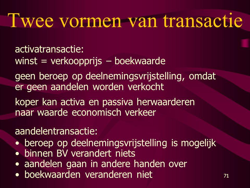 71 Twee vormen van transactie activatransactie: winst = verkoopprijs – boekwaarde geen beroep op deelnemingsvrijstelling, omdat er geen aandelen worde
