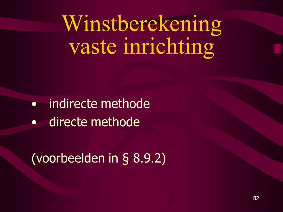 82 Winstberekening vaste inrichting • indirecte methode • directe methode (voorbeelden in § 8.9.2)
