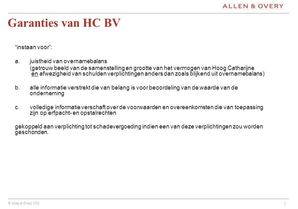 © Allen & Overy 2011 6 –Hof: geen schending balansgarantie: verplichtingen van (bij ABP c.s.