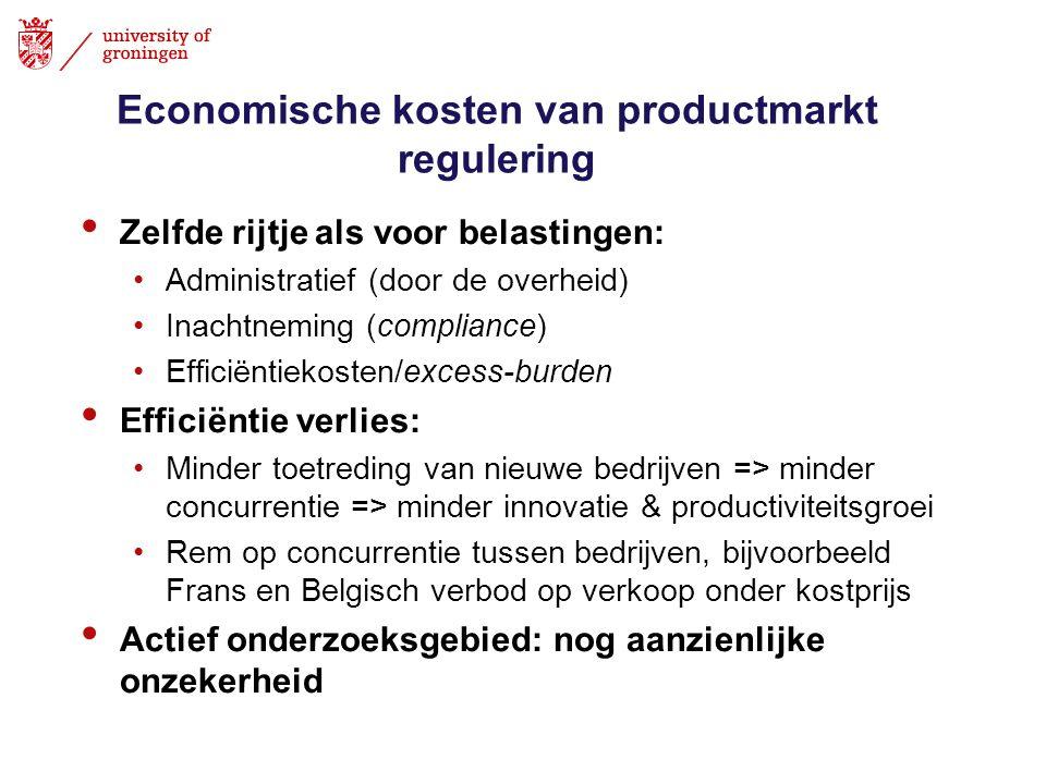 Economische kosten van productmarkt regulering • Zelfde rijtje als voor belastingen: •Administratief (door de overheid) •Inachtneming (compliance) •Ef