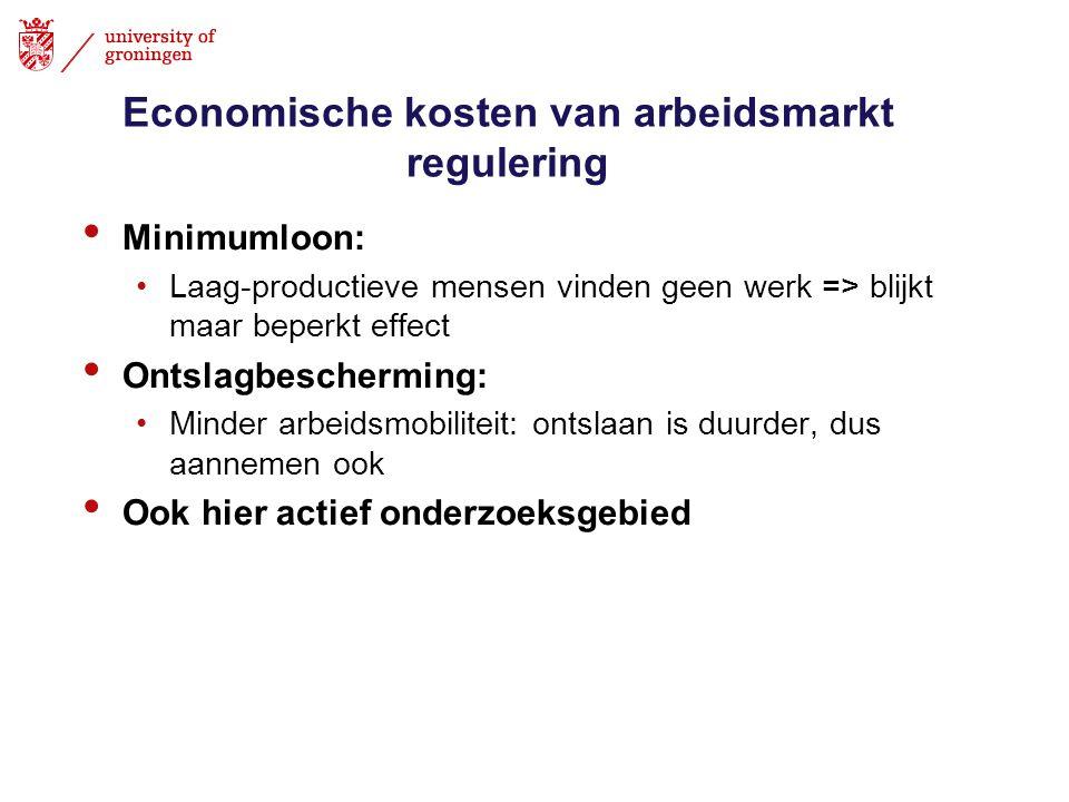 Economische kosten van arbeidsmarkt regulering • Minimumloon: •Laag-productieve mensen vinden geen werk => blijkt maar beperkt effect • Ontslagbescher