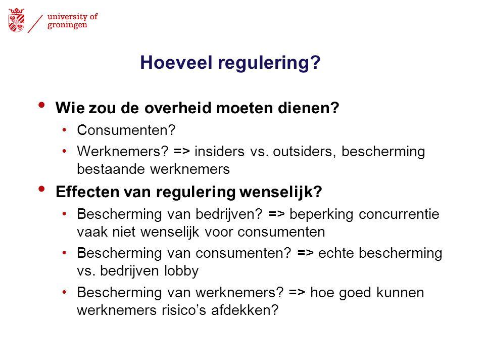 Hoeveel regulering? • Wie zou de overheid moeten dienen? •Consumenten? •Werknemers? => insiders vs. outsiders, bescherming bestaande werknemers • Effe