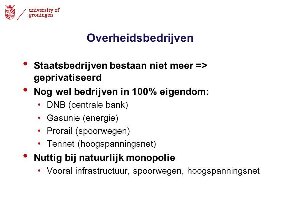 Overheidsbedrijven • Staatsbedrijven bestaan niet meer => geprivatiseerd • Nog wel bedrijven in 100% eigendom: •DNB (centrale bank) •Gasunie (energie)