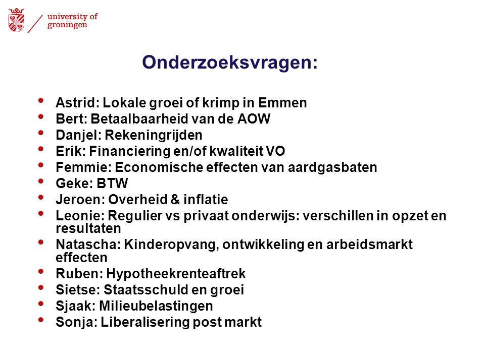 Onderzoeksvragen: • Astrid: Lokale groei of krimp in Emmen • Bert: Betaalbaarheid van de AOW • Danjel: Rekeningrijden • Erik: Financiering en/of kwali