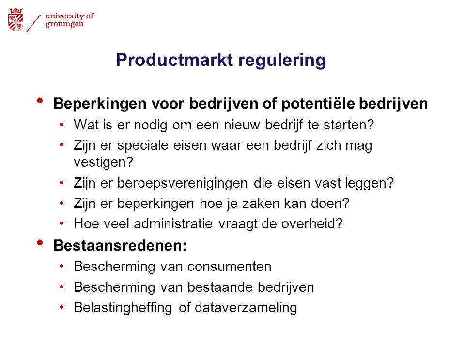Productmarkt regulering • Beperkingen voor bedrijven of potentiële bedrijven •Wat is er nodig om een nieuw bedrijf te starten? •Zijn er speciale eisen