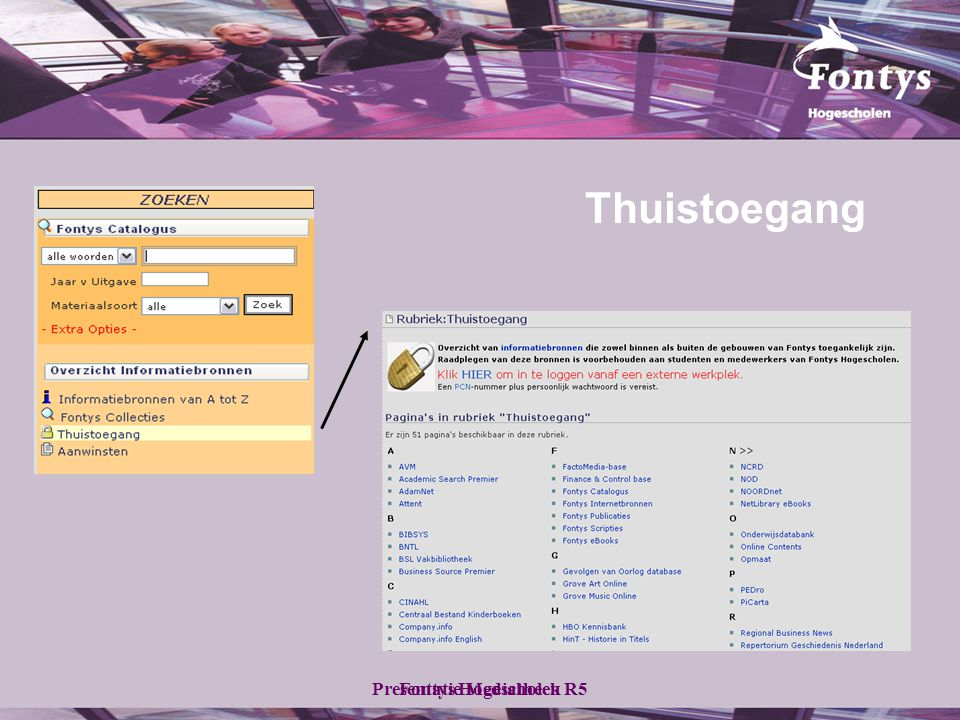 Fontys HogescholenPresentatie Mediatheek R5 Thuistoegang
