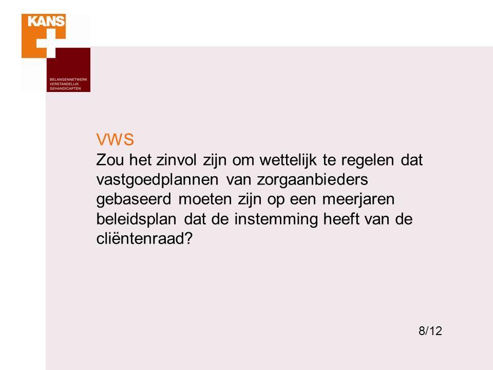 8 VWS Zou het zinvol zijn om wettelijk te regelen dat vastgoedplannen van zorgaanbieders gebaseerd moeten zijn op een meerjaren beleidsplan dat de ins
