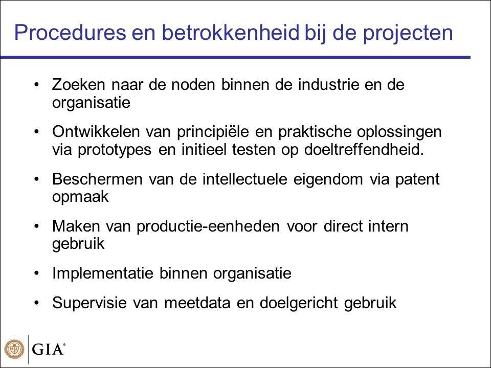 Procedures en betrokkenheid bij de projecten •Zoeken naar de noden binnen de industrie en de organisatie •Ontwikkelen van principiële en praktische oplossingen via prototypes en initieel testen op doeltreffendheid.
