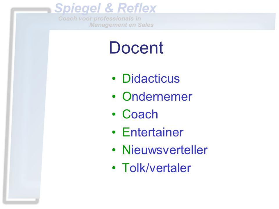 Docent •Didacticus •Ondernemer •Coach •Entertainer •Nieuwsverteller •Tolk/vertaler