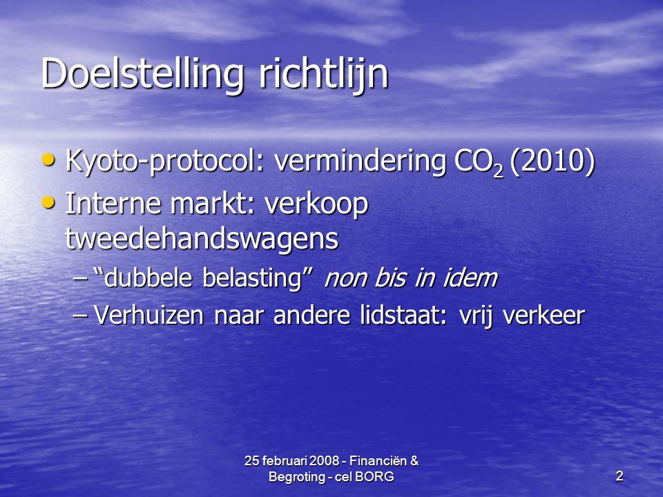 25 februari 2008 - Financiën & Begroting - cel BORG2 Doelstelling richtlijn • Kyoto-protocol: vermindering CO 2 (2010) • Interne markt: verkoop tweedehandswagens – dubbele belasting non bis in idem –Verhuizen naar andere lidstaat: vrij verkeer