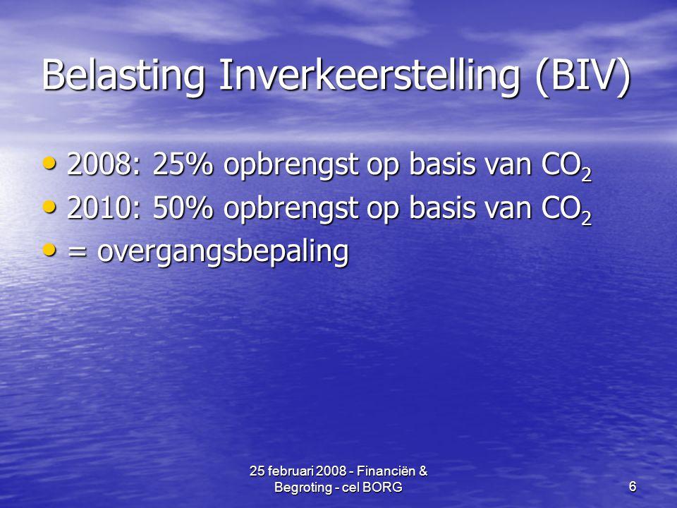 25 februari 2008 - Financiën & Begroting - cel BORG6 Belasting Inverkeerstelling (BIV) • 2008: 25% opbrengst op basis van CO 2 • 2010: 50% opbrengst op basis van CO 2 • = overgangsbepaling
