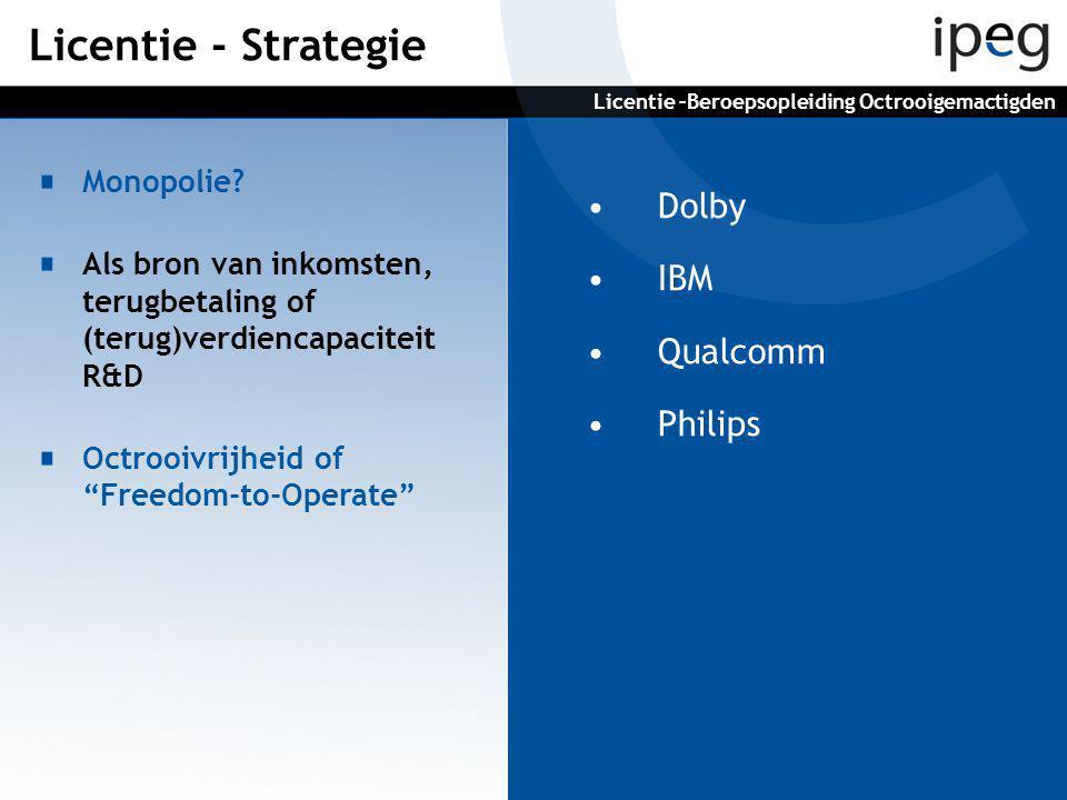 """•Dolby •IBM •Qualcomm •Philips Monopolie? Als bron van inkomsten, terugbetaling of (terug)verdiencapaciteit R&D Octrooivrijheid of """"Freedom-to-Operate"""