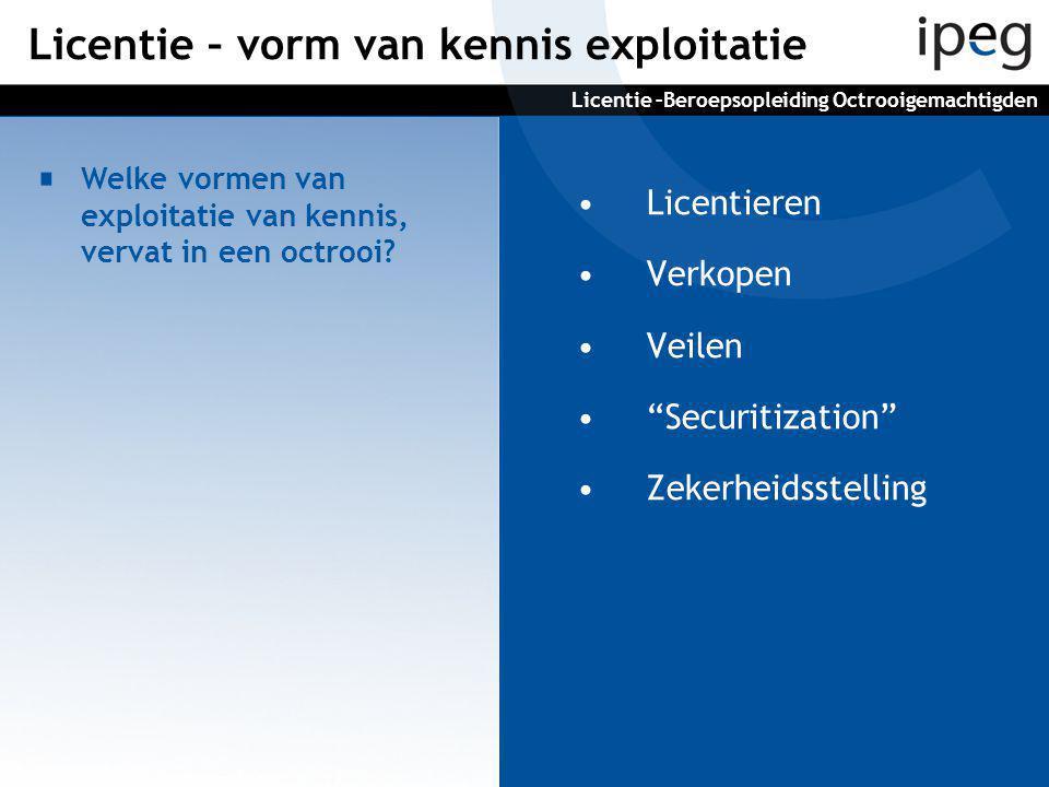 •Licentieren •Verkopen •Veilen • Securitization •Zekerheidsstelling Welke vormen van exploitatie van kennis, vervat in een octrooi.