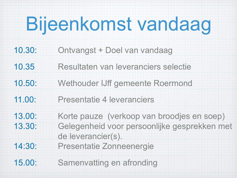 Bijeenkomst vandaag 10.30: Ontvangst + Doel van vandaag 10.35 Resultaten van leveranciers selectie 10.50: Wethouder IJff gemeente Roermond 11.00: Presentatie 4 leveranciers 13.00: Korte pauze (verkoop van broodjes en soep) 13.30: Gelegenheid voor persoonlijke gesprekken met de leverancier(s).