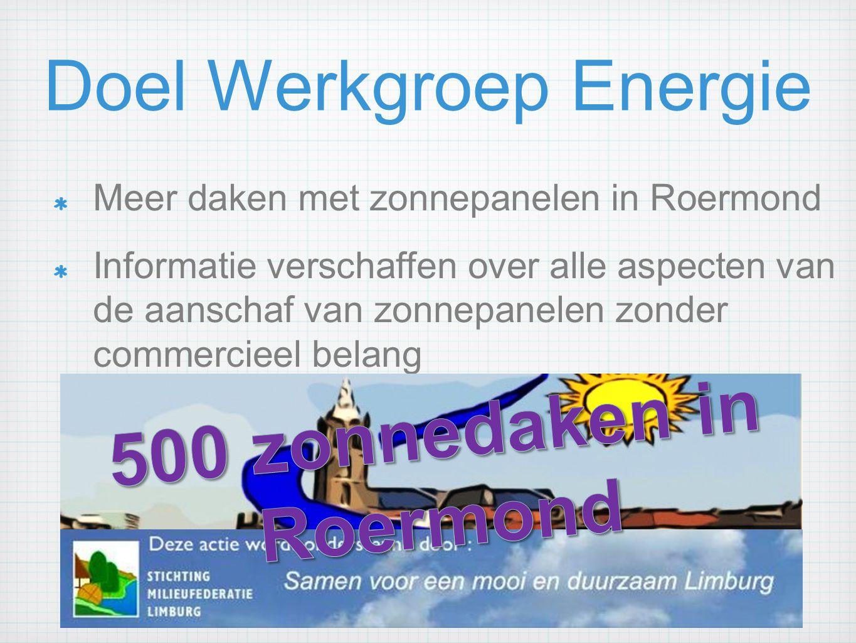 Doel Werkgroep Energie Meer daken met zonnepanelen in Roermond Informatie verschaffen over alle aspecten van de aanschaf van zonnepanelen zonder commercieel belang