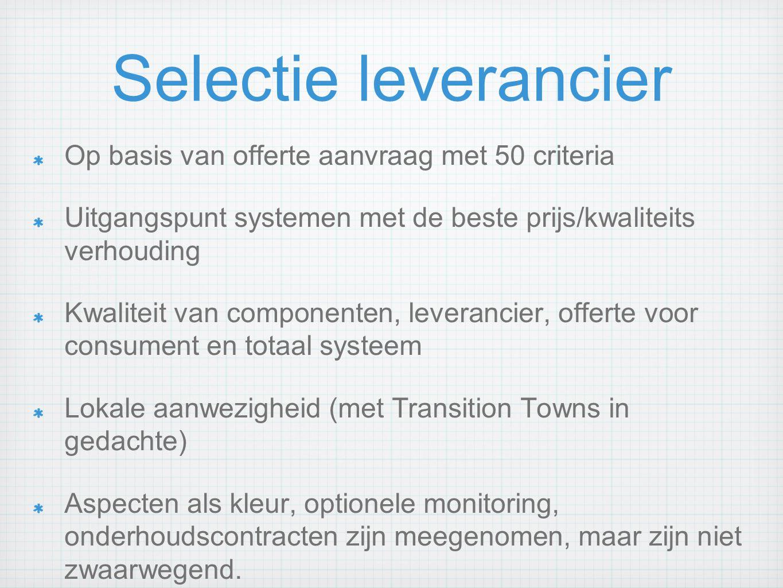 Selectie leverancier Op basis van offerte aanvraag met 50 criteria Uitgangspunt systemen met de beste prijs/kwaliteits verhouding Kwaliteit van compon