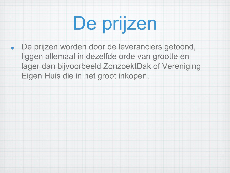De prijzen De prijzen worden door de leveranciers getoond, liggen allemaal in dezelfde orde van grootte en lager dan bijvoorbeeld ZonzoektDak of Veren
