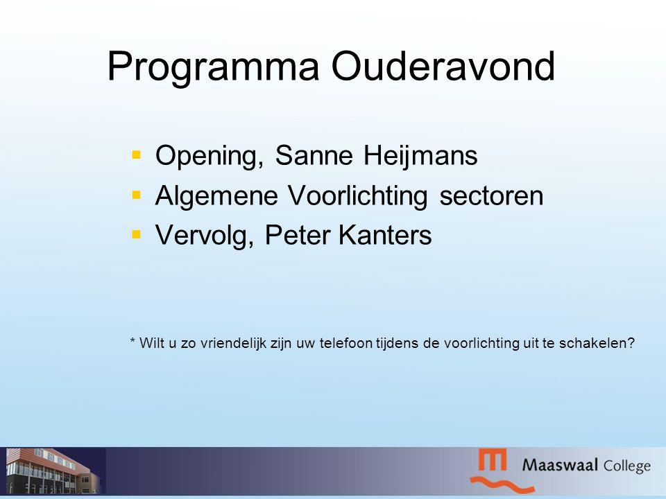Programma Ouderavond   Opening, Sanne Heijmans   Algemene Voorlichting sectoren   Vervolg, Peter Kanters * Wilt u zo vriendelijk zijn uw telefoo