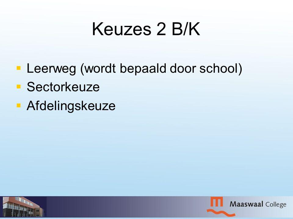 Keuzes 2 B/K   Leerweg (wordt bepaald door school)   Sectorkeuze   Afdelingskeuze