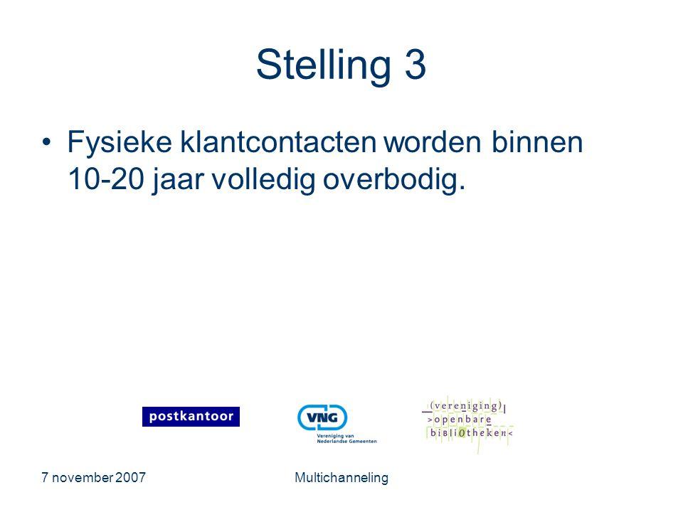7 november 2007Multichanneling Stelling 3 •Fysieke klantcontacten worden binnen 10-20 jaar volledig overbodig.