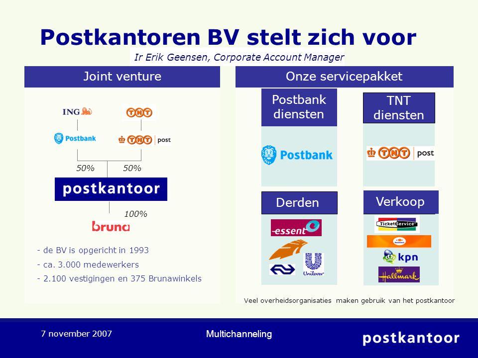 Multichanneling 7 november 2007 Postkantoren BV stelt zich voor 50% 100% - de BV is opgericht in 1993 - ca. 3.000 medewerkers - 2.100 vestigingen en 3