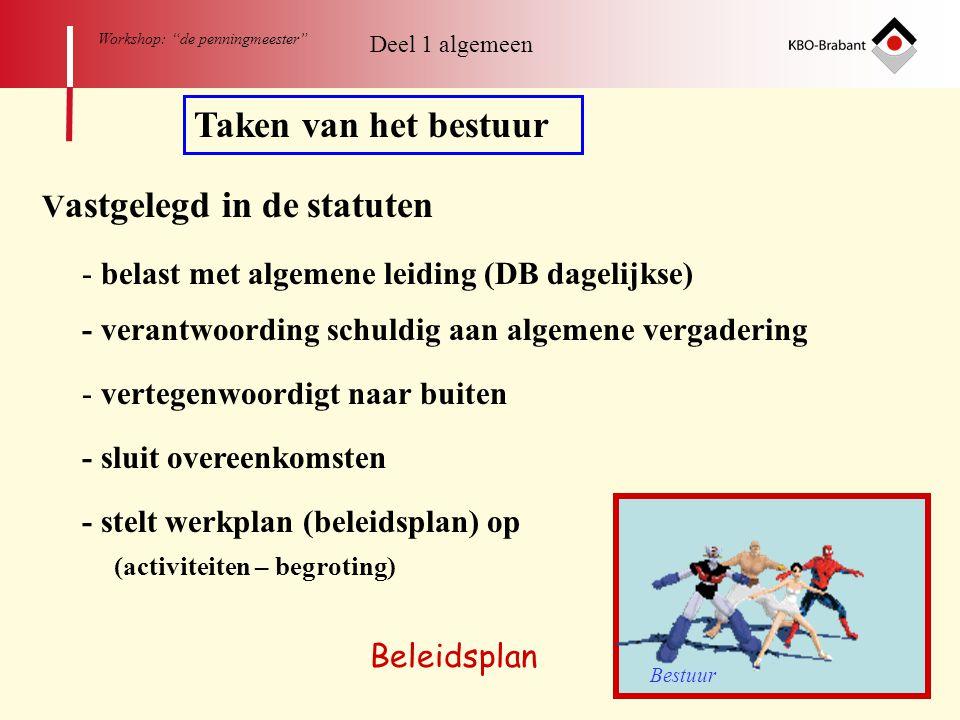 """11 Workshop: """"de penningmeester"""" Taken van het bestuur V astgelegd in de statuten - belast met algemene leiding (DB dagelijkse) - verantwoording schul"""