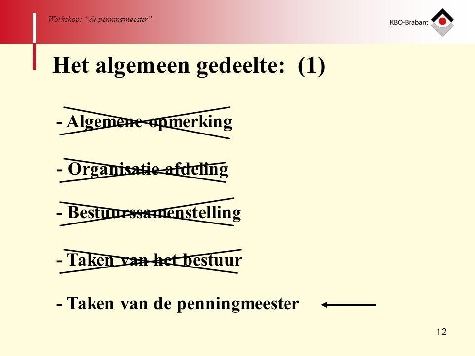 """12 Workshop: """"de penningmeester"""" - Algemene opmerking - Organisatie afdeling - Bestuurssamenstelling - Taken van het bestuur - Taken van de penningmee"""