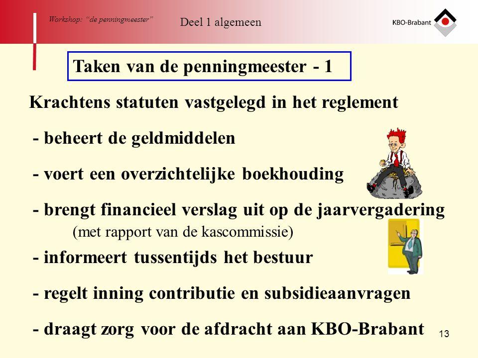 """13 Workshop: """"de penningmeester"""" Taken van de penningmeester - 1 Krachtens statuten vastgelegd in het reglement - beheert de geldmiddelen - voert een"""