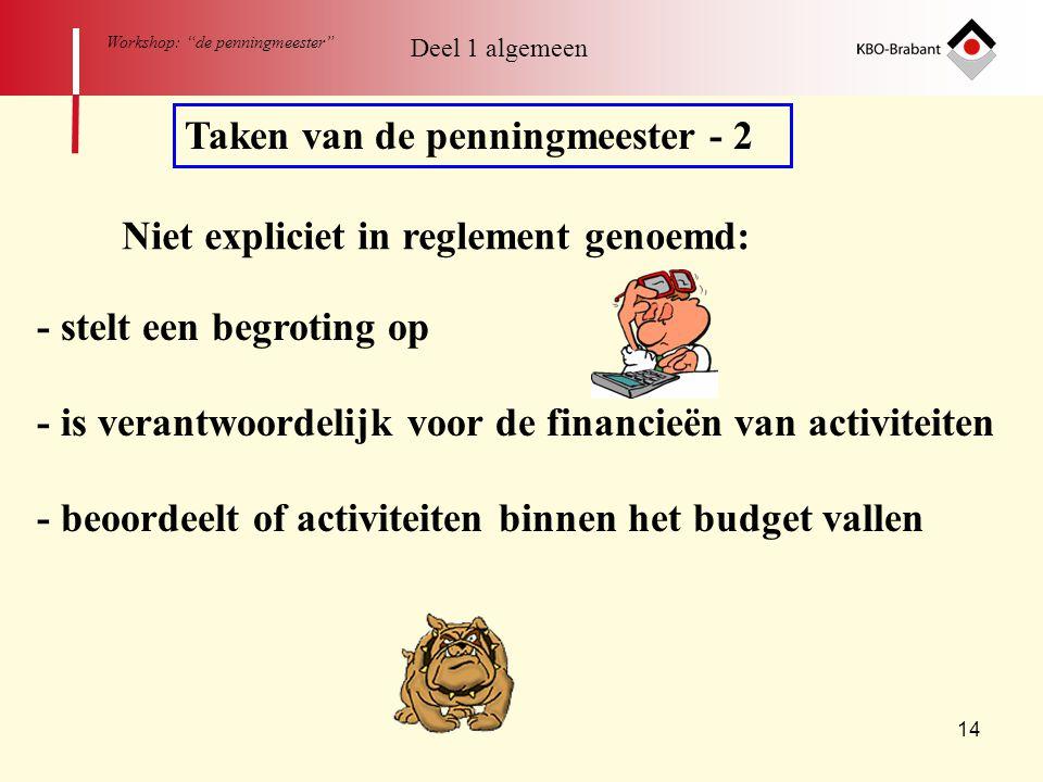 """14 Workshop: """"de penningmeester"""" Taken van de penningmeester - 2 Niet expliciet in reglement genoemd: - is verantwoordelijk voor de financieën van act"""