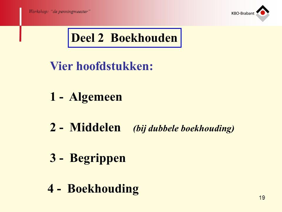 """19 Workshop: """"de penningmeester"""" Deel 2 Boekhouden 1 - Algemeen 2 - Middelen (bij dubbele boekhouding) 3 - Begrippen 4 - Boekhouding Vier hoofdstukken"""