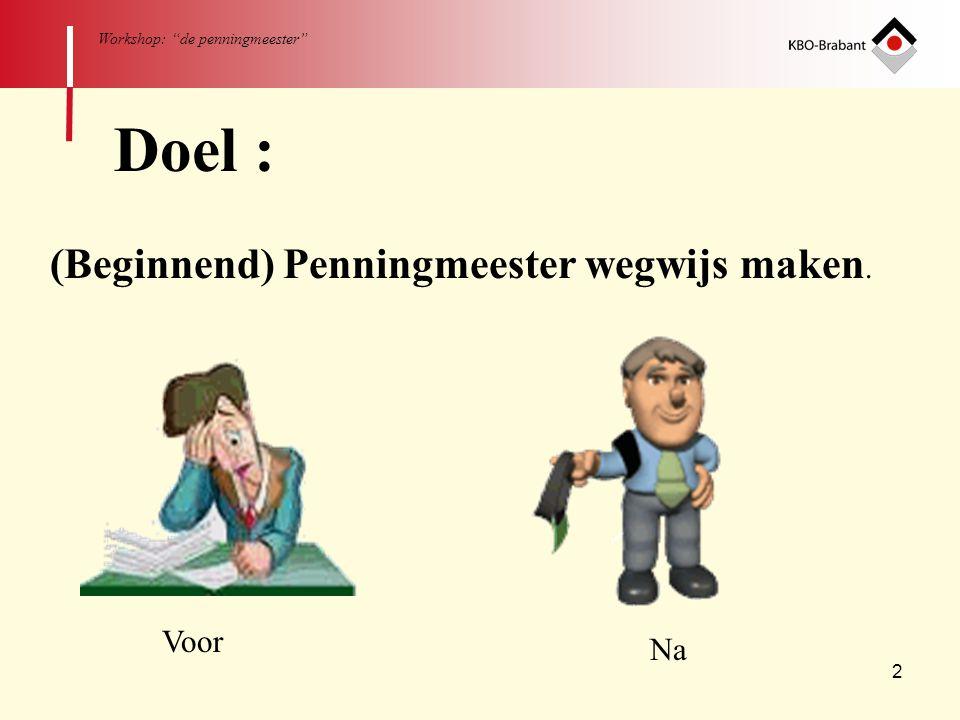 """2 Workshop: """"de penningmeester"""" Doel : (Beginnend) Penningmeester wegwijs maken. Voor Na"""