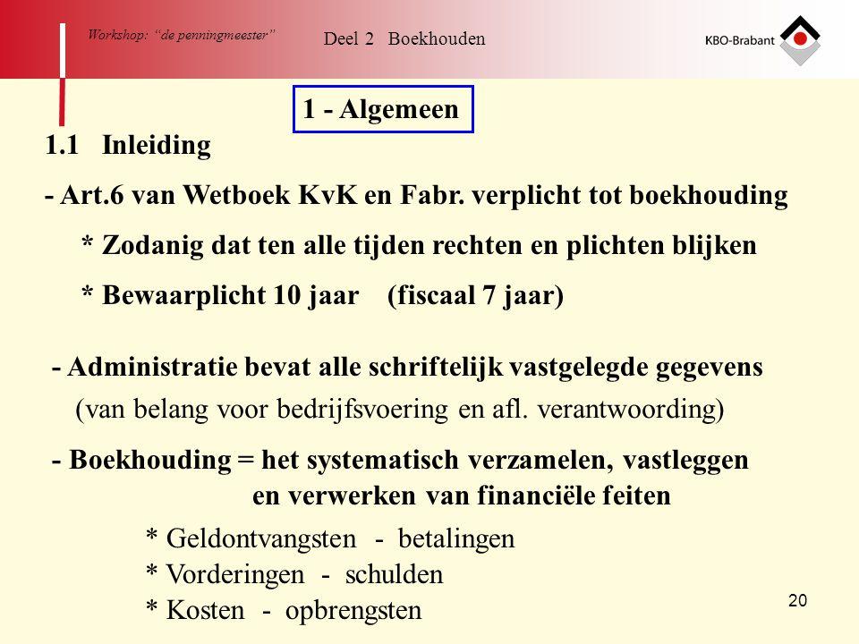 """20 Workshop: """"de penningmeester"""" Deel 2 Boekhouden 1 - Algemeen 1.1 Inleiding - Art.6 van Wetboek KvK en Fabr. verplicht tot boekhouding * Zodanig dat"""