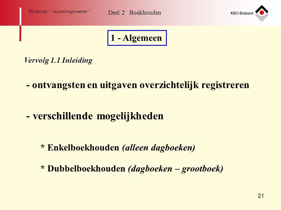 """21 Workshop: """"de penningmeester"""" Deel 2 Boekhouden 1 - Algemeen Vervolg 1.1 Inleiding - ontvangsten en uitgaven overzichtelijk registreren * Enkelboek"""