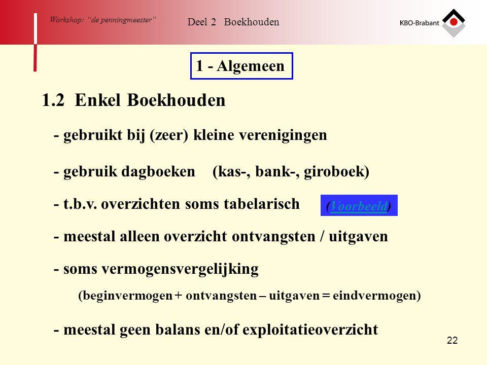 """22 Workshop: """"de penningmeester"""" Deel 2 Boekhouden 1.2 Enkel Boekhouden 1 - Algemeen - gebruikt bij (zeer) kleine verenigingen - gebruik dagboeken (ka"""