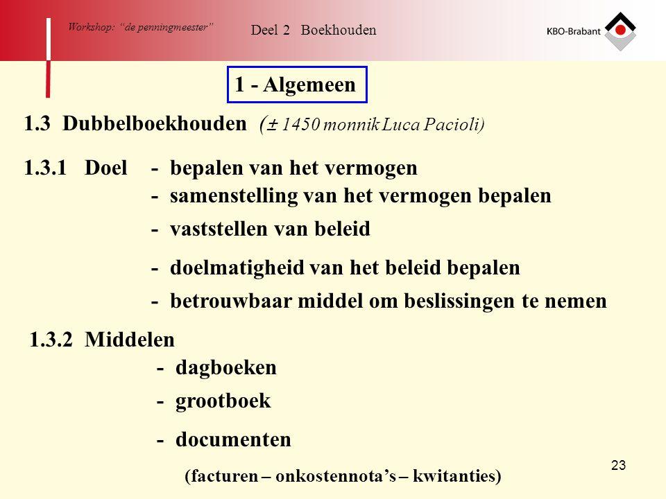 """23 Workshop: """"de penningmeester"""" Deel 2 Boekhouden 1 - Algemeen 1.3.1 Doel- bepalen van het vermogen - samenstelling van het vermogen bepalen - vastst"""