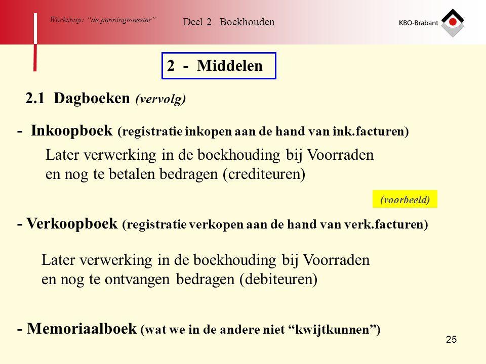 """25 Workshop: """"de penningmeester"""" Deel 2 Boekhouden 2 - Middelen 2.1 Dagboeken (vervolg) - Inkoopboek (registratie inkopen aan de hand van ink.facturen"""