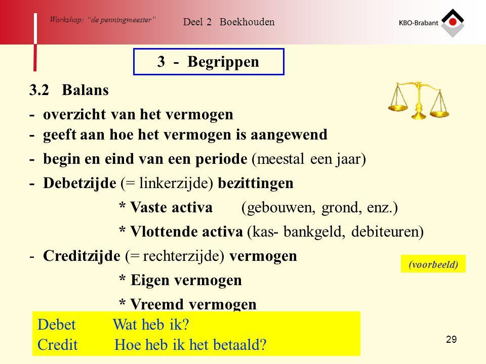 """29 Workshop: """"de penningmeester"""" Deel 2 Boekhouden 3 - Begrippen 3.2 Balans - overzicht van het vermogen - begin en eind van een periode (meestal een"""