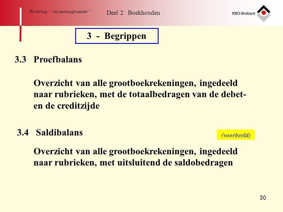 """30 Workshop: """"de penningmeester"""" Deel 2 Boekhouden 3 - Begrippen 3.3 Proefbalans Overzicht van alle grootboekrekeningen, ingedeeld naar rubrieken, met"""