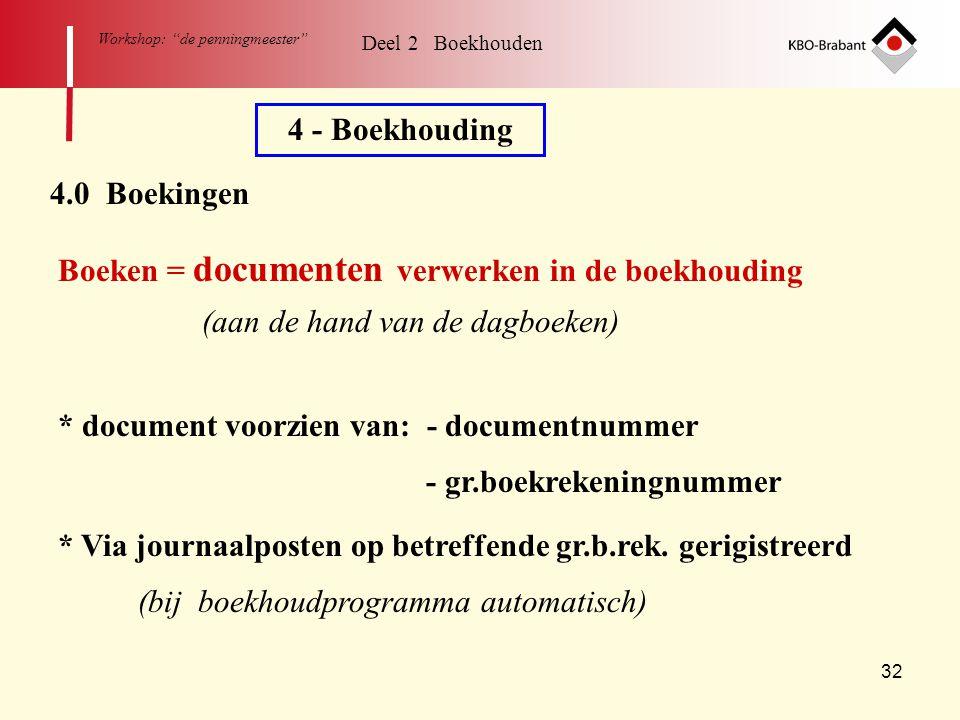 """32 Workshop: """"de penningmeester"""" Deel 2 Boekhouden 4 - Boekhouding 4.0 Boekingen Boeken = documenten verwerken in de boekhouding * document voorzien v"""
