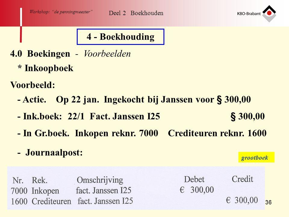 """36 Workshop: """"de penningmeester"""" 4 - Boekhouding 4.0 Boekingen - Voorbeelden * Inkoopboek Voorbeeld: - Actie. Op 22 jan. Ingekocht bij Janssen voor §"""