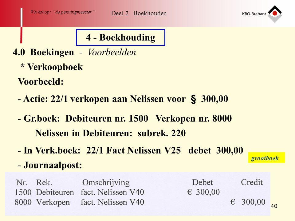 """40 Workshop: """"de penningmeester"""" Deel 2 Boekhouden 4 - Boekhouding 4.0 Boekingen - Voorbeelden * Verkoopboek - Actie: 22/1 verkopen aan Nelissen voor"""