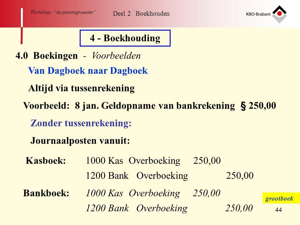 """44 Workshop: """"de penningmeester"""" Deel 2 Boekhouden 4 - Boekhouding 4.0 Boekingen - Voorbeelden Van Dagboek naar Dagboek Altijd via tussenrekening Voor"""