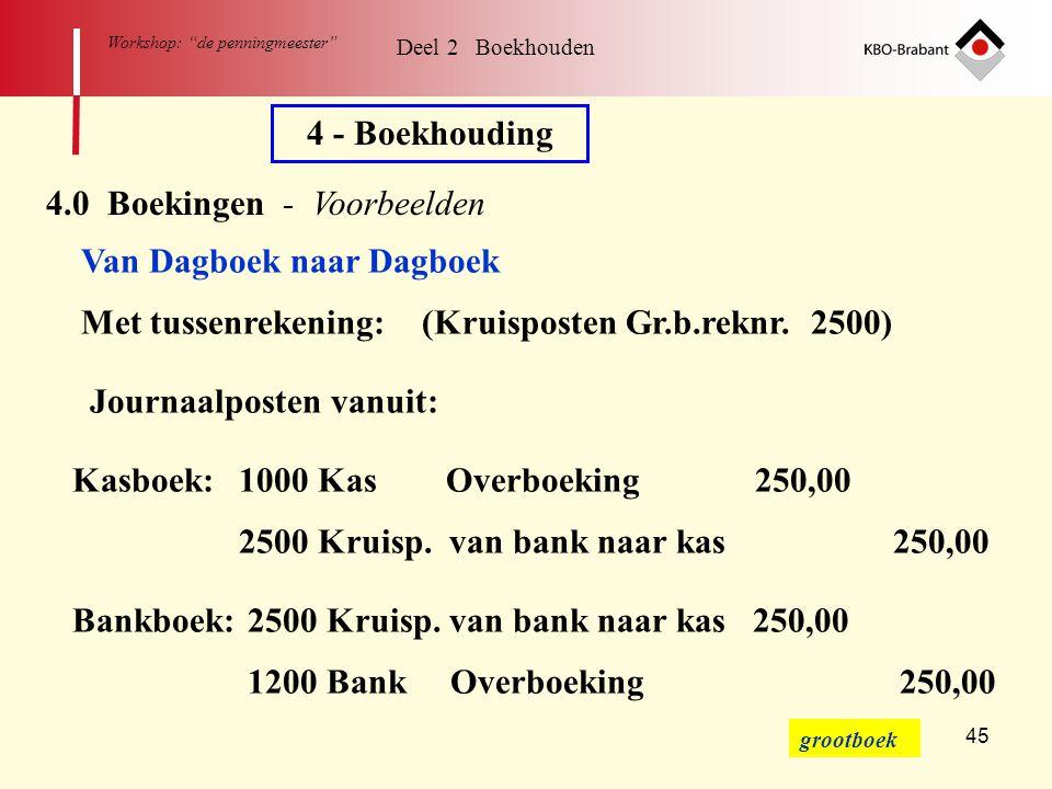 """45 Workshop: """"de penningmeester"""" Deel 2 Boekhouden 4 - Boekhouding 4.0 Boekingen - Voorbeelden Van Dagboek naar Dagboek Met tussenrekening: (Kruispost"""
